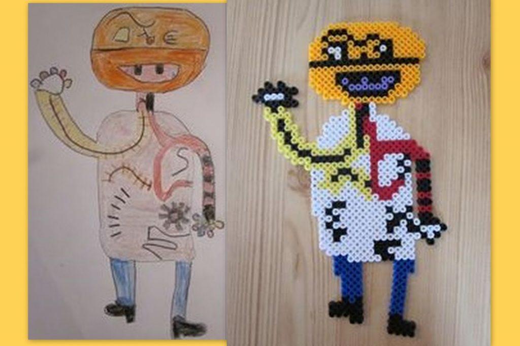 Freebooktratsch Bügelvorlagen Bild vom Kind gemalt als Bügelperlen1