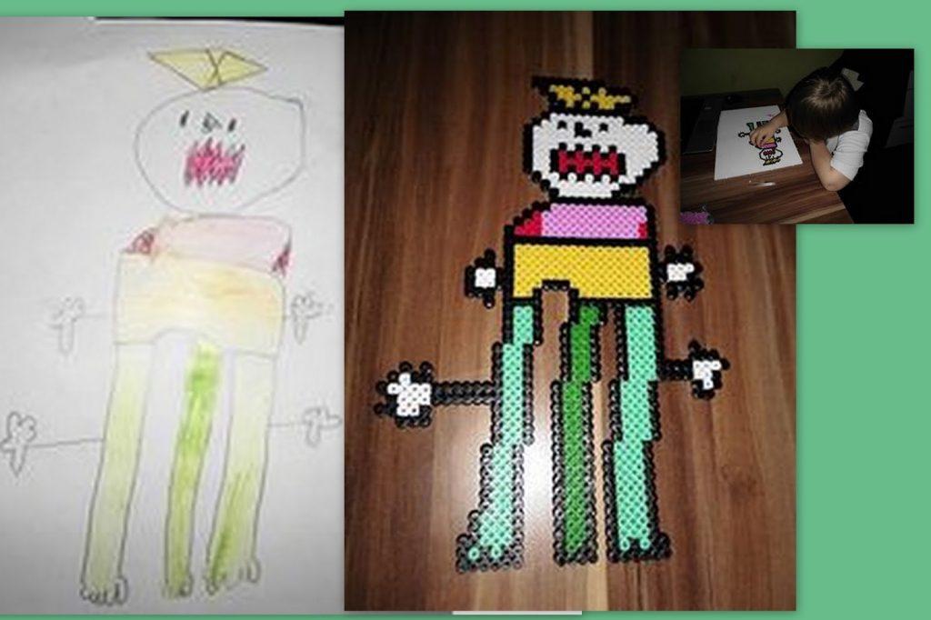 Freebooktratsch Bügelvorlagen Bild vom Kind gemalt als Bügelperlen2