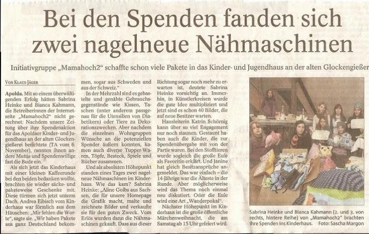 Thüringer Allgemeine 27.11.2014 Klaus Jäger