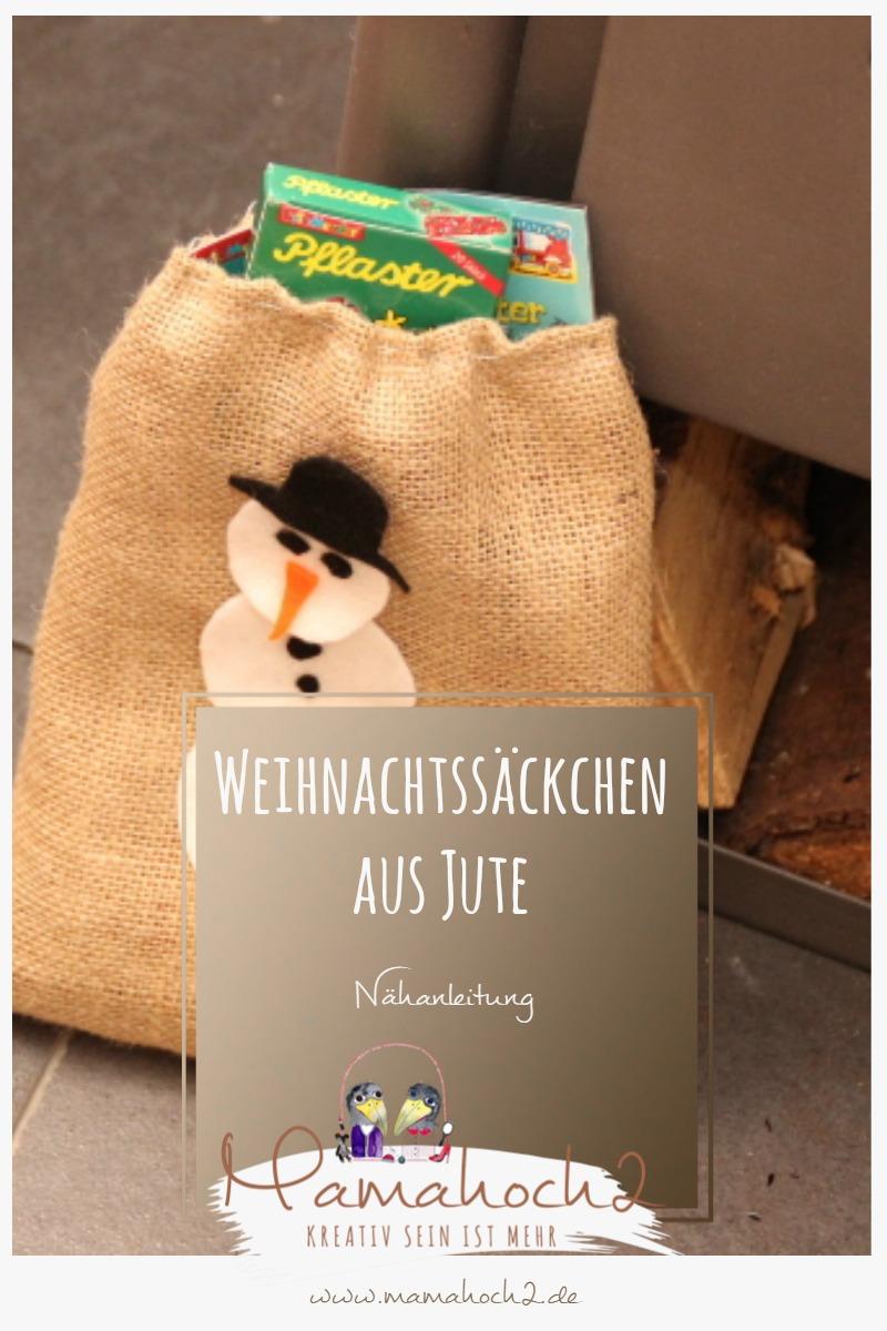Nähanleitung für Weihnachtssäckchen aus Jute