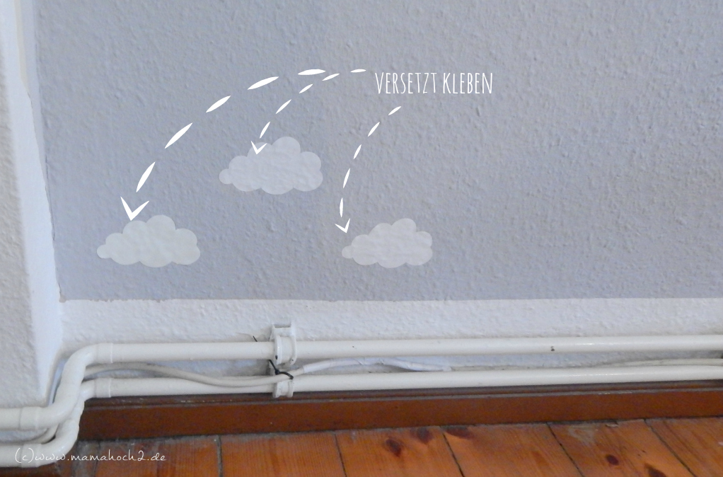 Kinderzimmer ideen 1 wolkenwand tutorial plotter freebie mamahoch2 - Bucherregal kinderzimmer wand ...