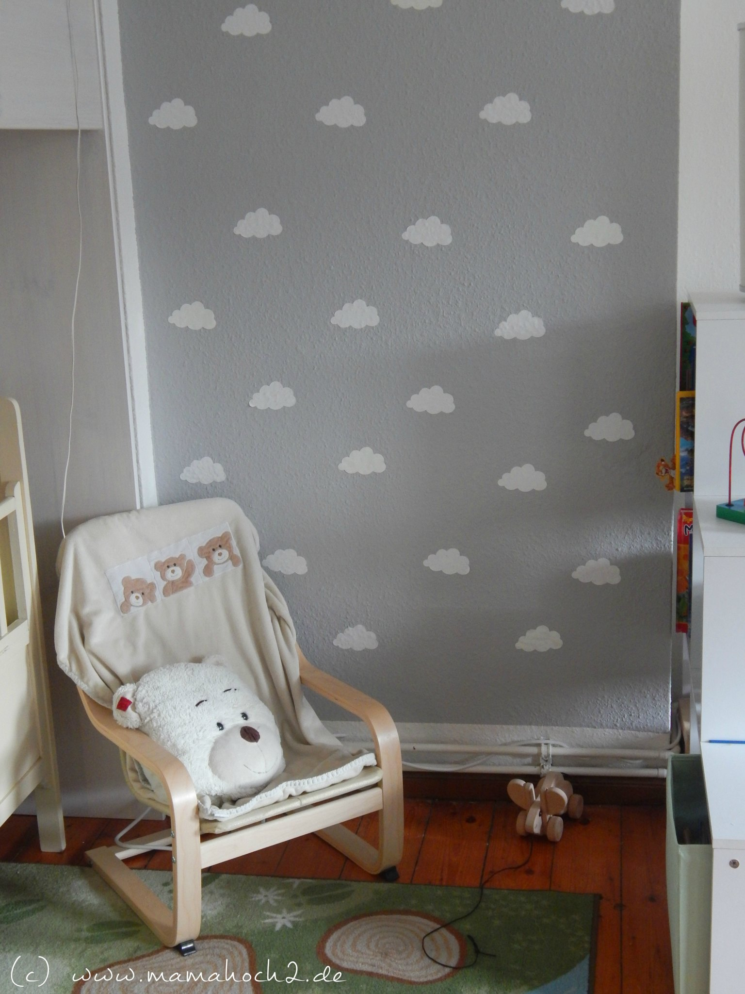 Kinderzimmer ideen 1 wolkenwand tutorial plotter for Deko wand babyzimmer