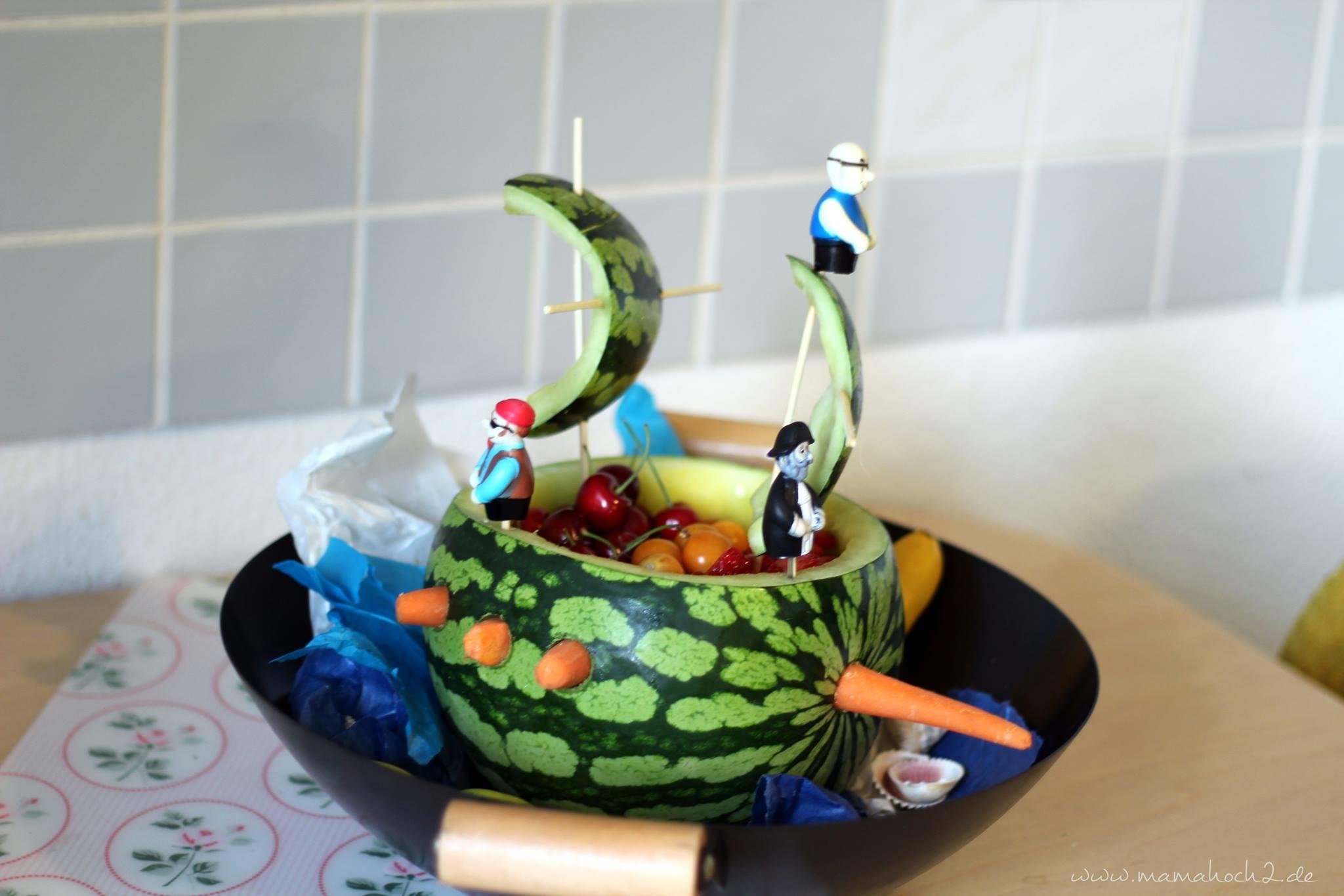 Setzt die Segel! Melonenschiff für die Piratenparty ...