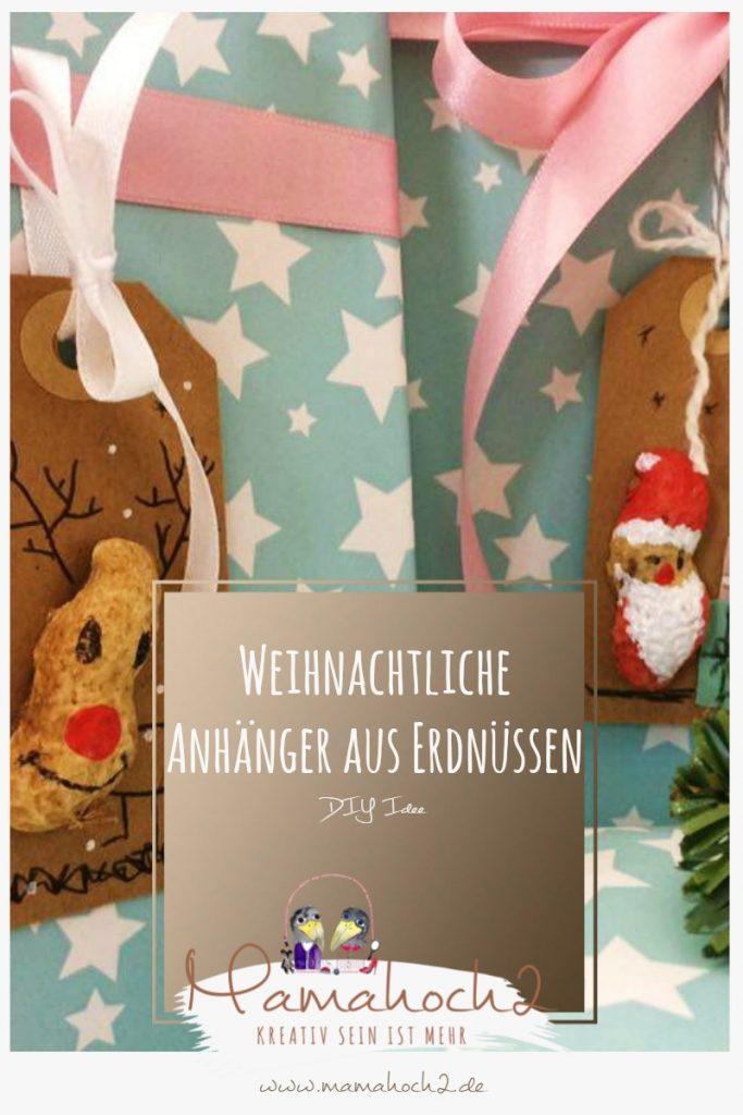Weihnachtliche Geschenkanhänger aus Erdnüssen