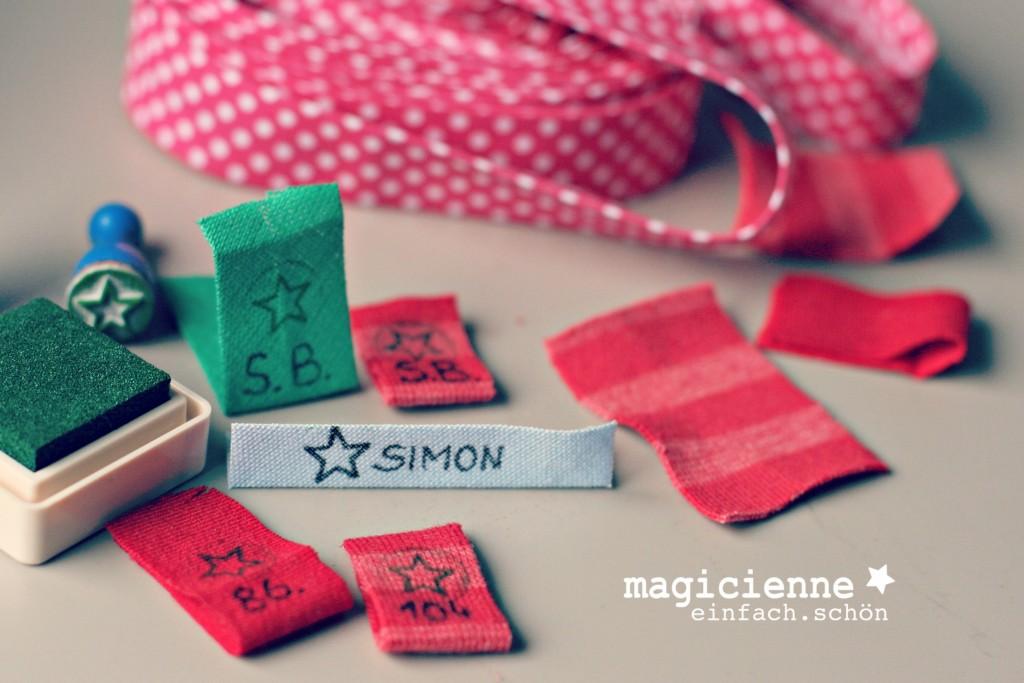 beschriftete Namensbänder Größenlabel DIY magicienne