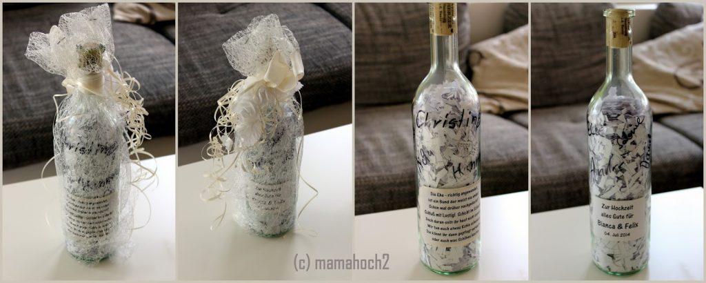 Glasflasche Flaschenpost Hochzeitsgeschenke