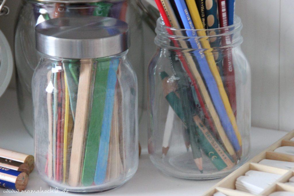 gläser für Stifte und Bastelzeugs nutzen