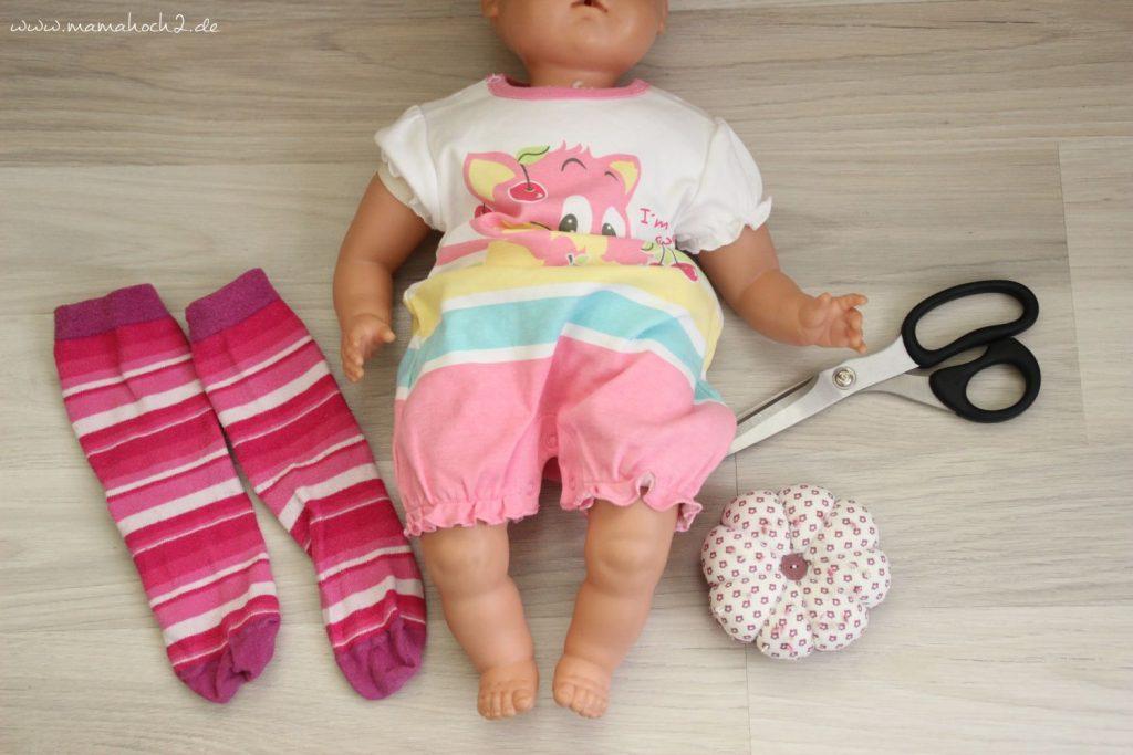 DIY Nähanleitung Puppenhose aus alten Strumpfhosen und Socken (1)