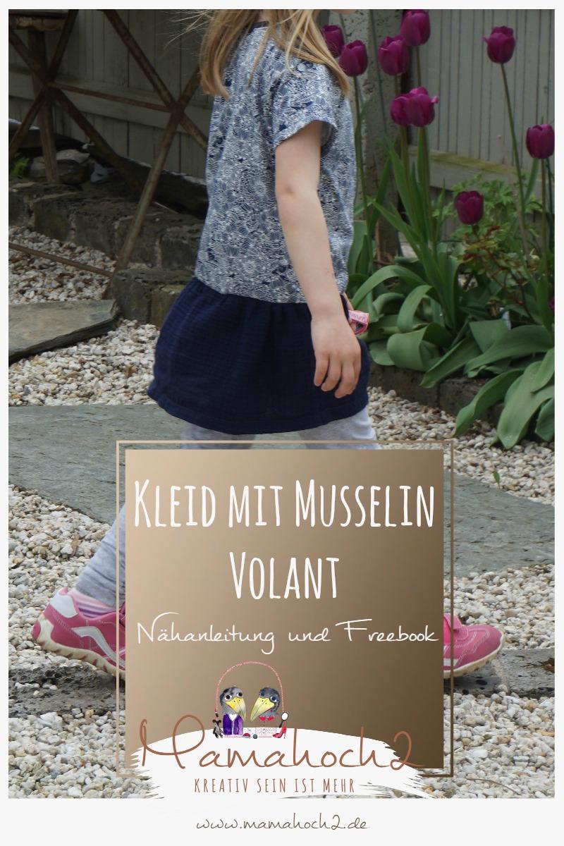 Nähanleitung Freebook Kleid mit Musselin Volant