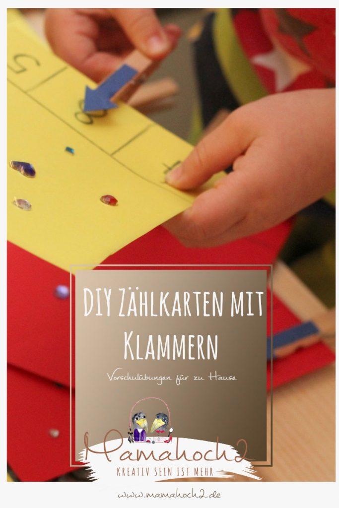 Vorschulübungen DIY Zählkarten montessori lernen