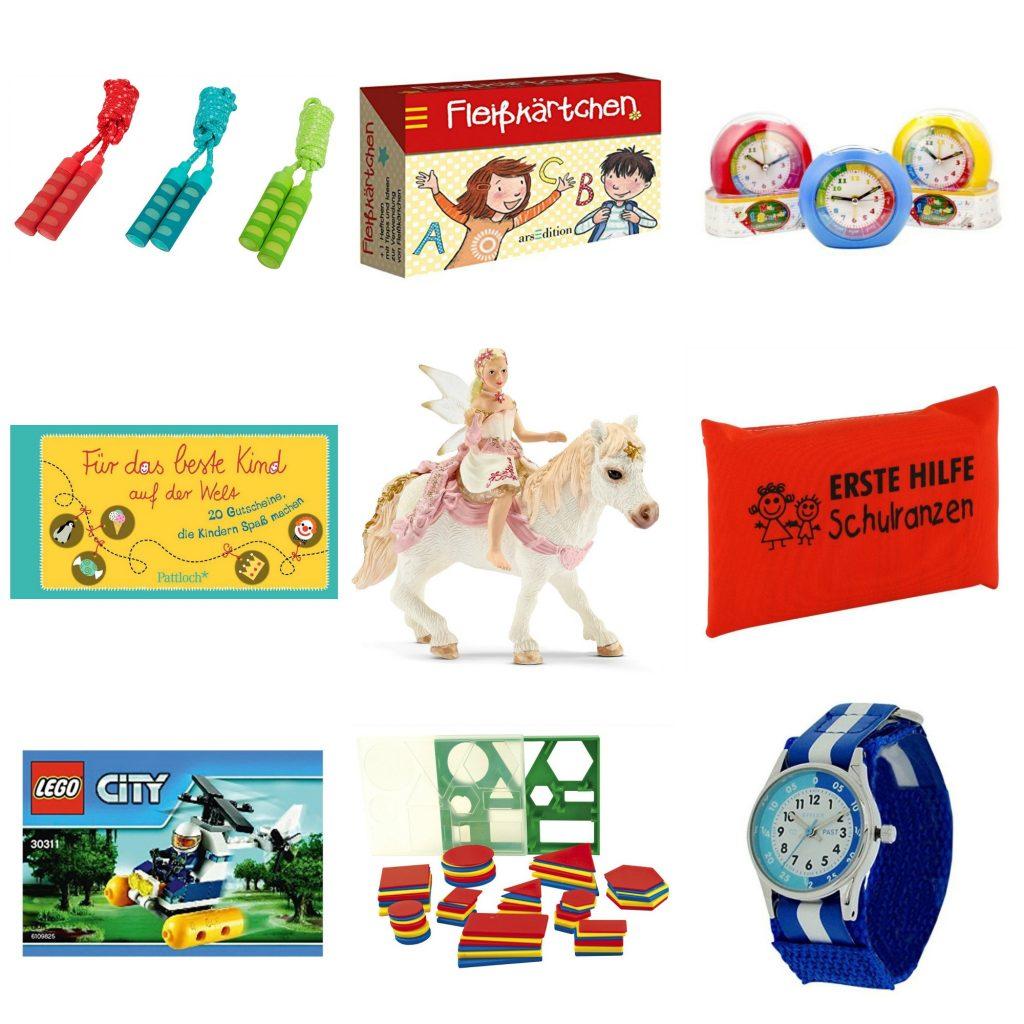 Collage Inhalt Zuckertüte, Schultüte Geschenkideen
