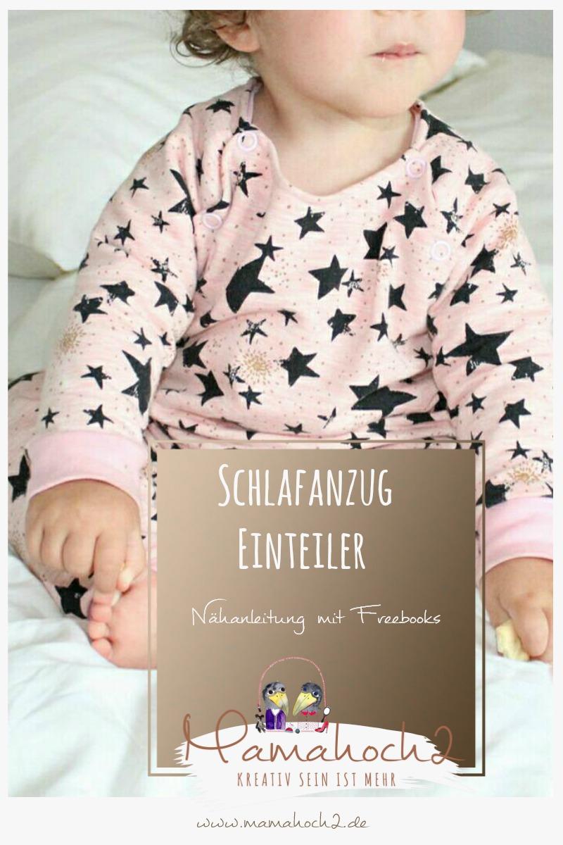 Nähanleitung Einteiler Schlafanzug mit Freebooks Mamahoch2