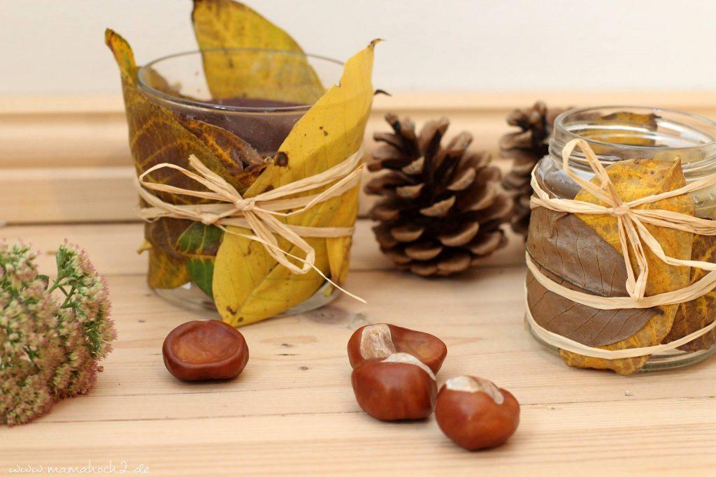 Herbstbasteln windlicht Laubblätter Laub Kerze Kerzenglas DIY Bastelanleitung für Kinder basteln (2)