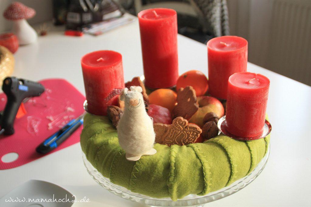 Adventskranz Deko mit Maus