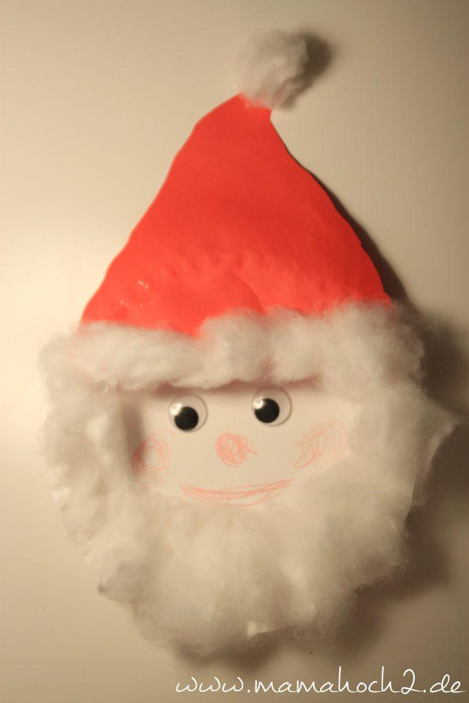 Basteln mit Papptellern Weihnachtsmann