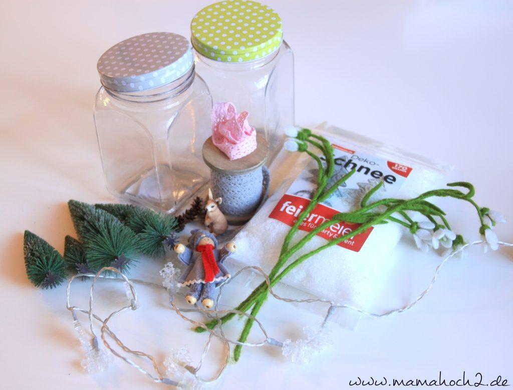Winterwelt im Glas Material