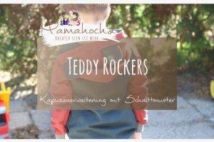 Teddy Rockers . Teddyohren annähen . Kapuze mit Ohren . Ohren an die Kapuze nähen . Bärenohren . Freebook Teddy Rockers 30