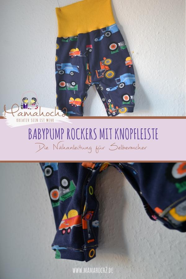 Babypump Rockers mit Knopfleiste . Knopfleiste in eine Hose Nähen . Knopfleiste in Hose . Einfaches Nähen . Freebook .