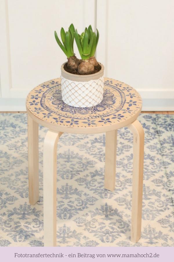 Möbel umgestalten mit Fototransfer auf Holz_ Mein Hocker Hack