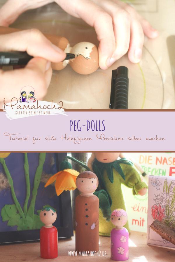 Peg Dolls Tutorial für süße Holzfiguren Menschen selber machen